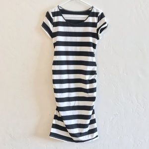 Isabel Maternity Black & White Stripe Ruched Dress